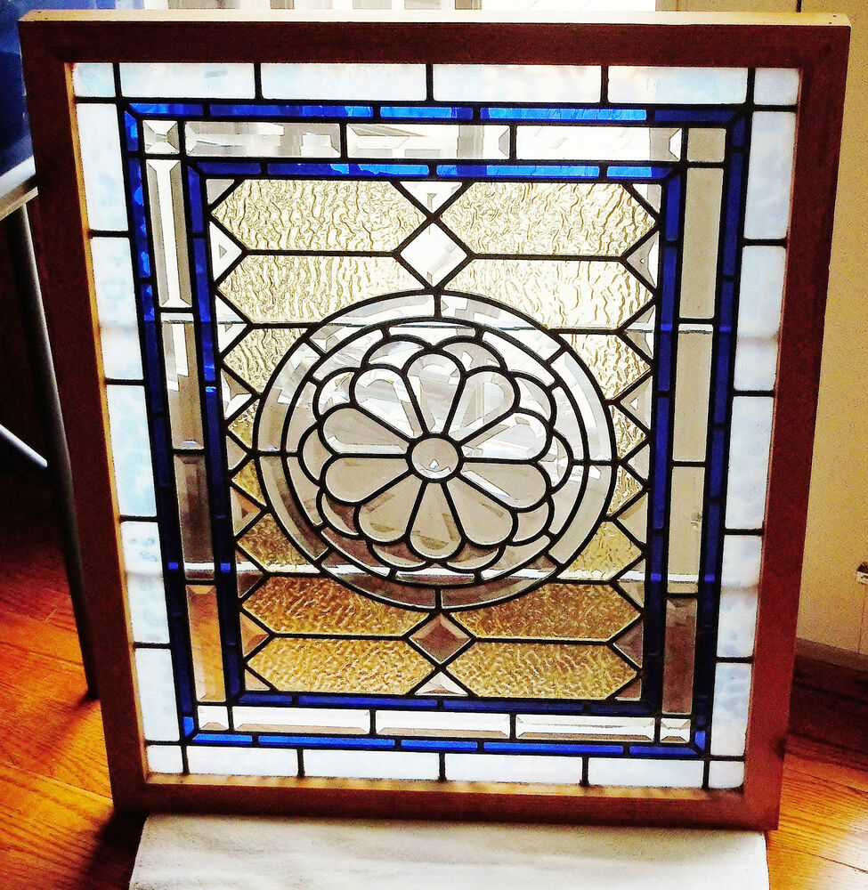 Antique stained glass window over 60 pieces of beveled for 1900 stained glass window