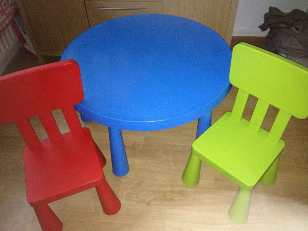 ikea mammut children 39 s round table and chairs ebay. Black Bedroom Furniture Sets. Home Design Ideas