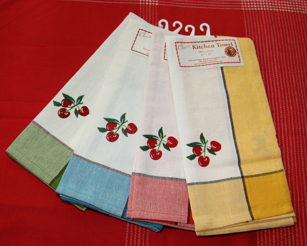Retro Style Cotton Kitchen Towels With Cherries Your Choice Gr Blu Yell Red Ebay