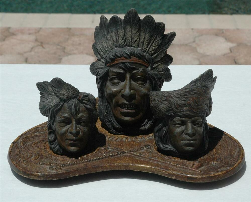Rare Vintage Native American Indian 4 Piece Cast Iron And