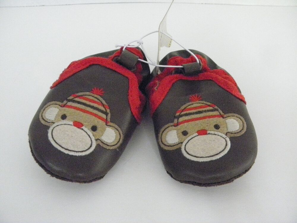 """NEW Old Navy Infant Baby Brown """"Sock MONKEY"""" Crib SHOES"""
