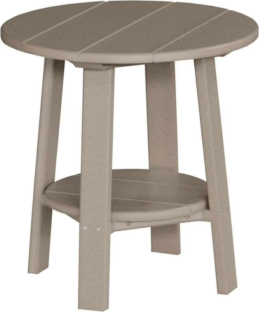 outdoor poly furniture wood deluxe end table weatherwood color made