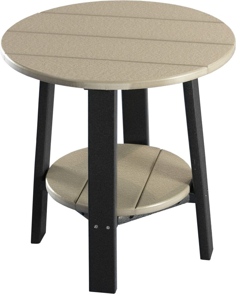outdoor poly furniture wood deluxe end table weatheredwood and black