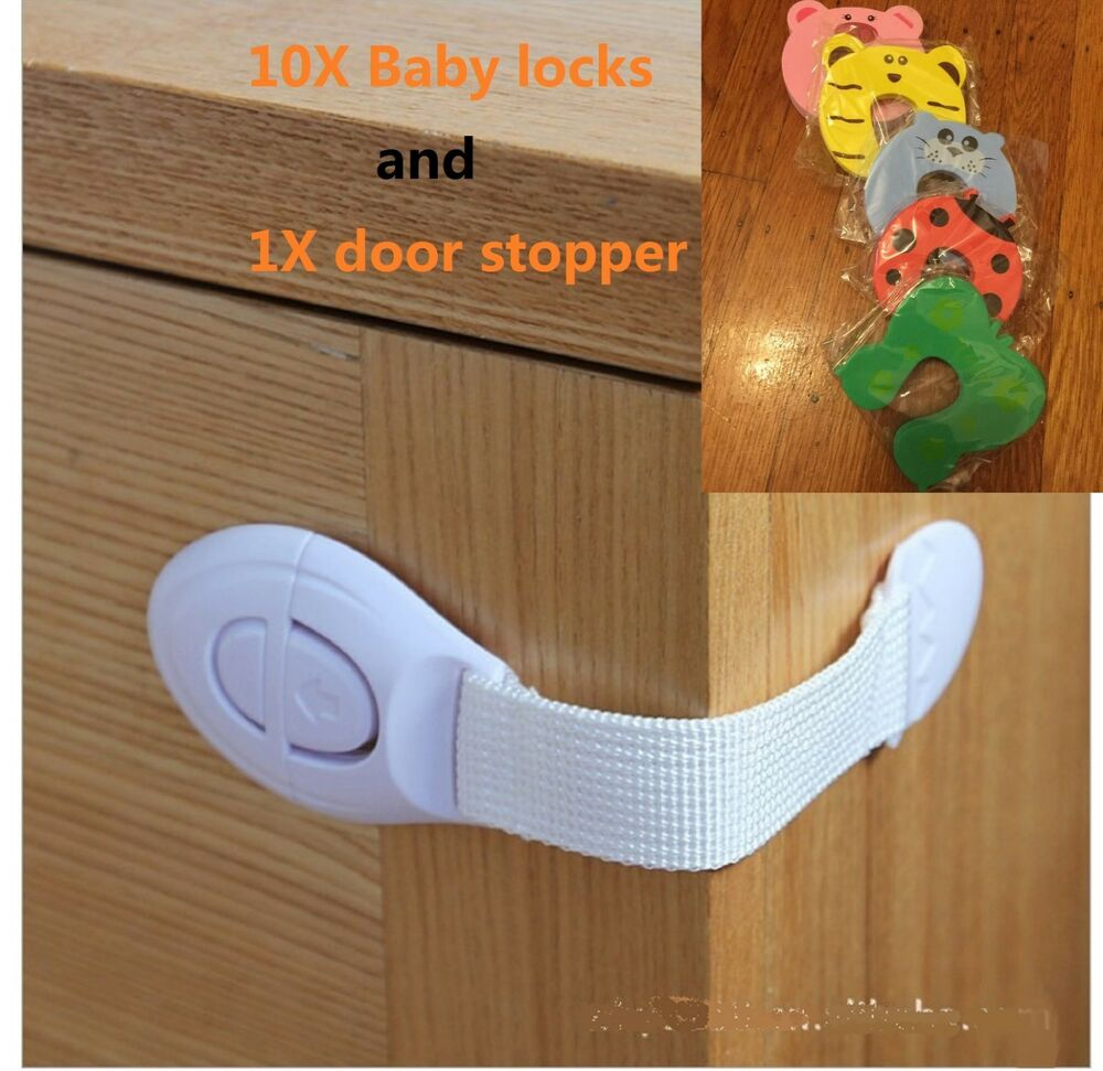 us seller 10pcs lot baby safety cabinet locks door drawer strap lock latches ebay. Black Bedroom Furniture Sets. Home Design Ideas
