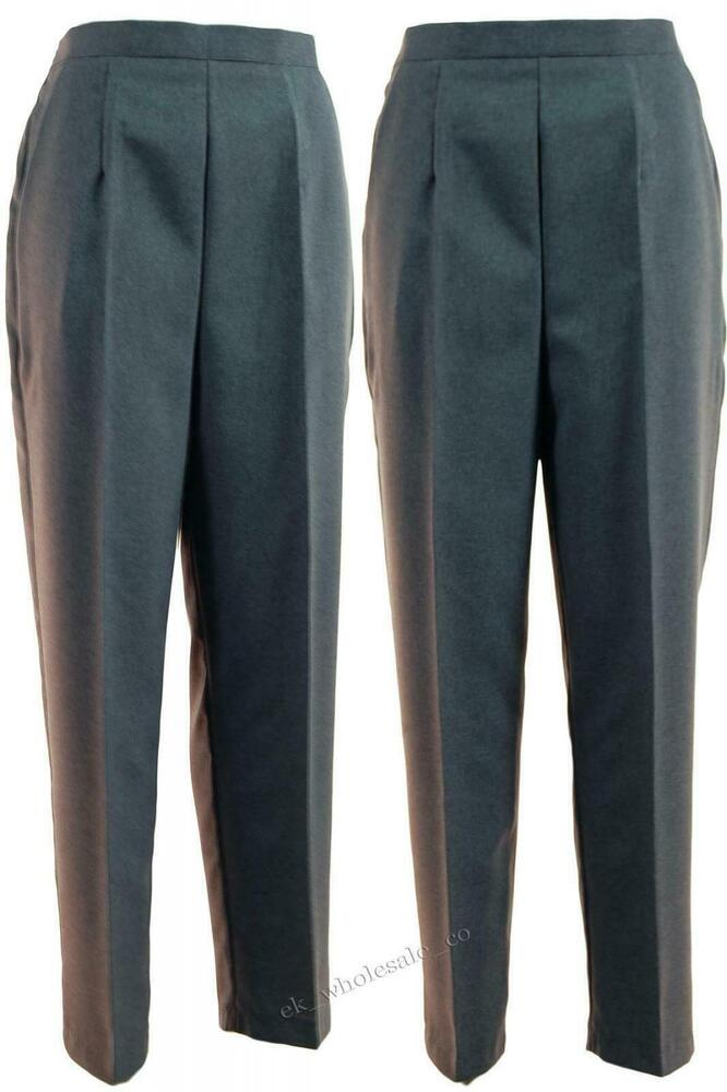 Ladies Grey Straight Leg Trousers Ideal For Bowls Bd
