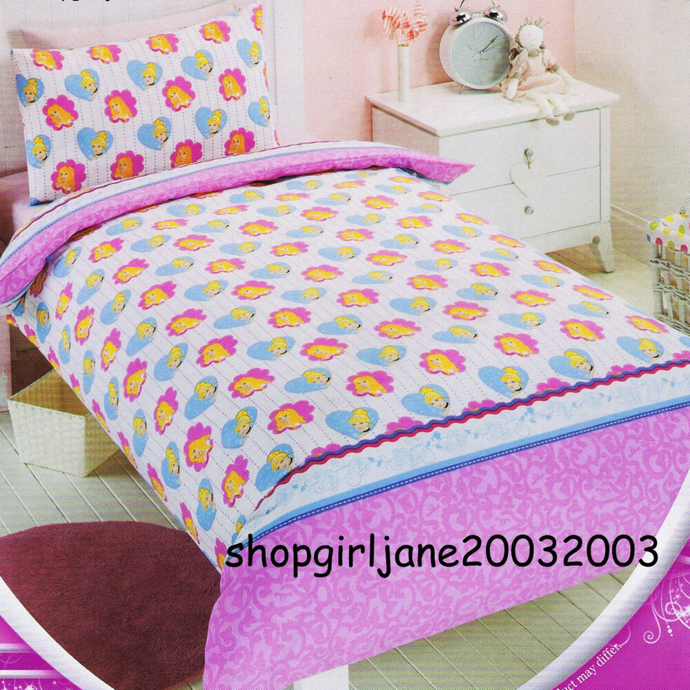 disney princess ready to sparkle single twin bed quilt doona duvet cover set ebay. Black Bedroom Furniture Sets. Home Design Ideas