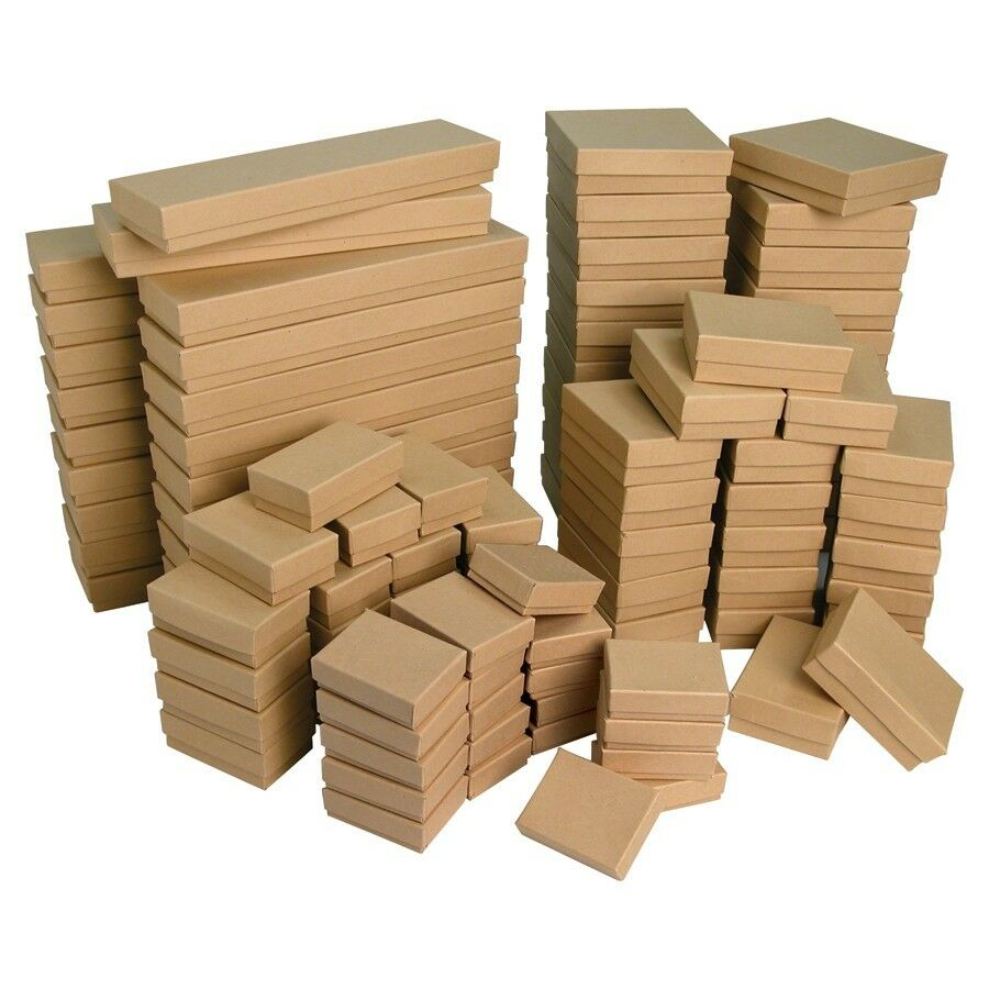 Wholesale boxes 100 kraft cotton filled boxes jewelry for Small cardboard jewelry boxes with lids