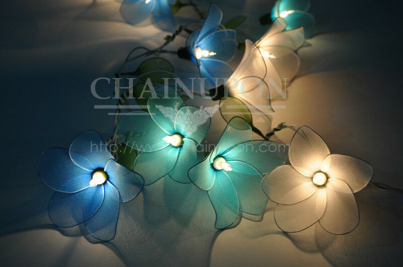 flower string lights for bedroom blue tone flower string floral patio decor teen 18698