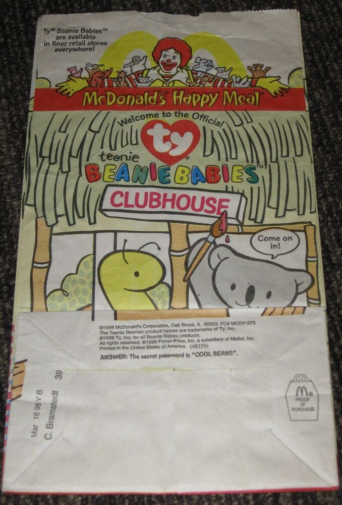 f78cf124802 1998 McDonalds Happy Meal Bag - Teenie Beanie Baby  2