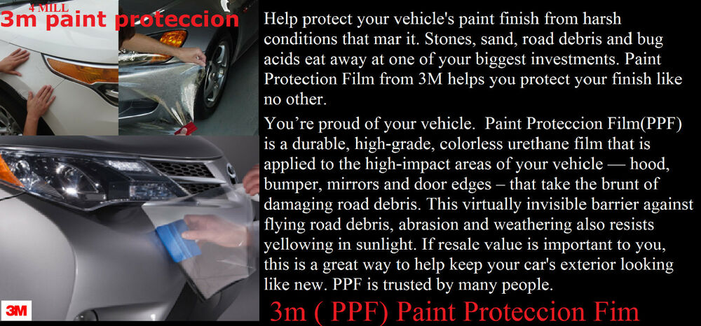 3m paint protection film roll clear 3m fit all cars 24 inch x 10 ft 4mill ebay. Black Bedroom Furniture Sets. Home Design Ideas
