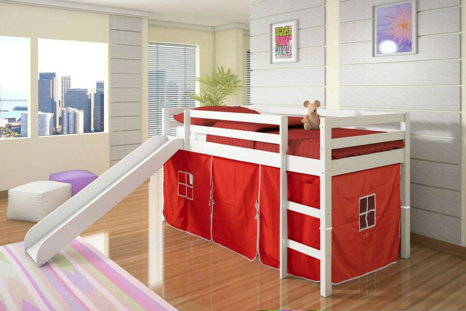 Twin Loft Bed W Slide Amp Tent Donco Kids Wood Slat