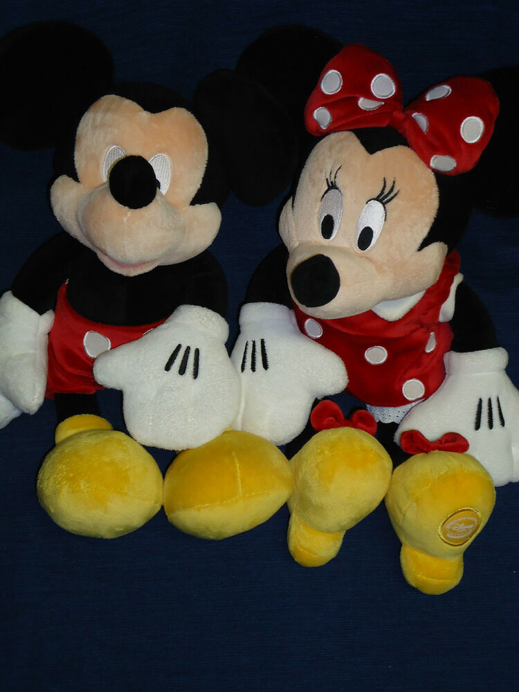 Pair of 16 stuffed disney store soft plush mickey minnie mouse dolls ebay - Disney store mickey mouse ...