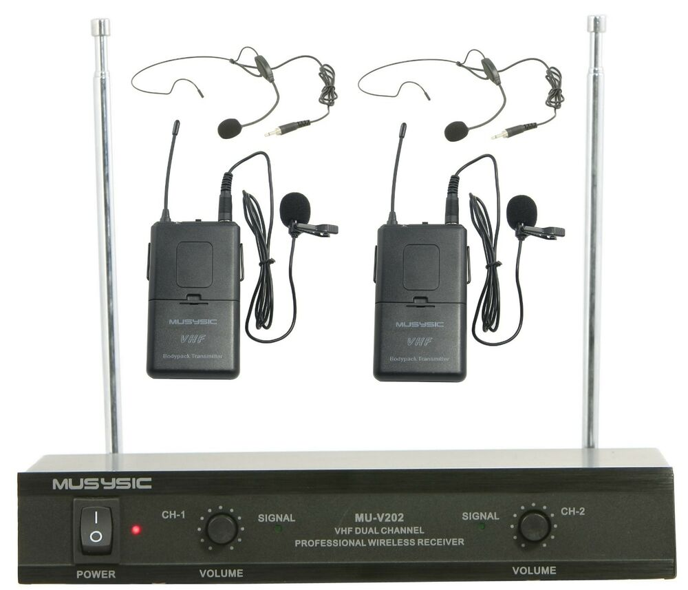 professional dual channel vhf lapel lavalier wireless microphone system musysic ebay. Black Bedroom Furniture Sets. Home Design Ideas