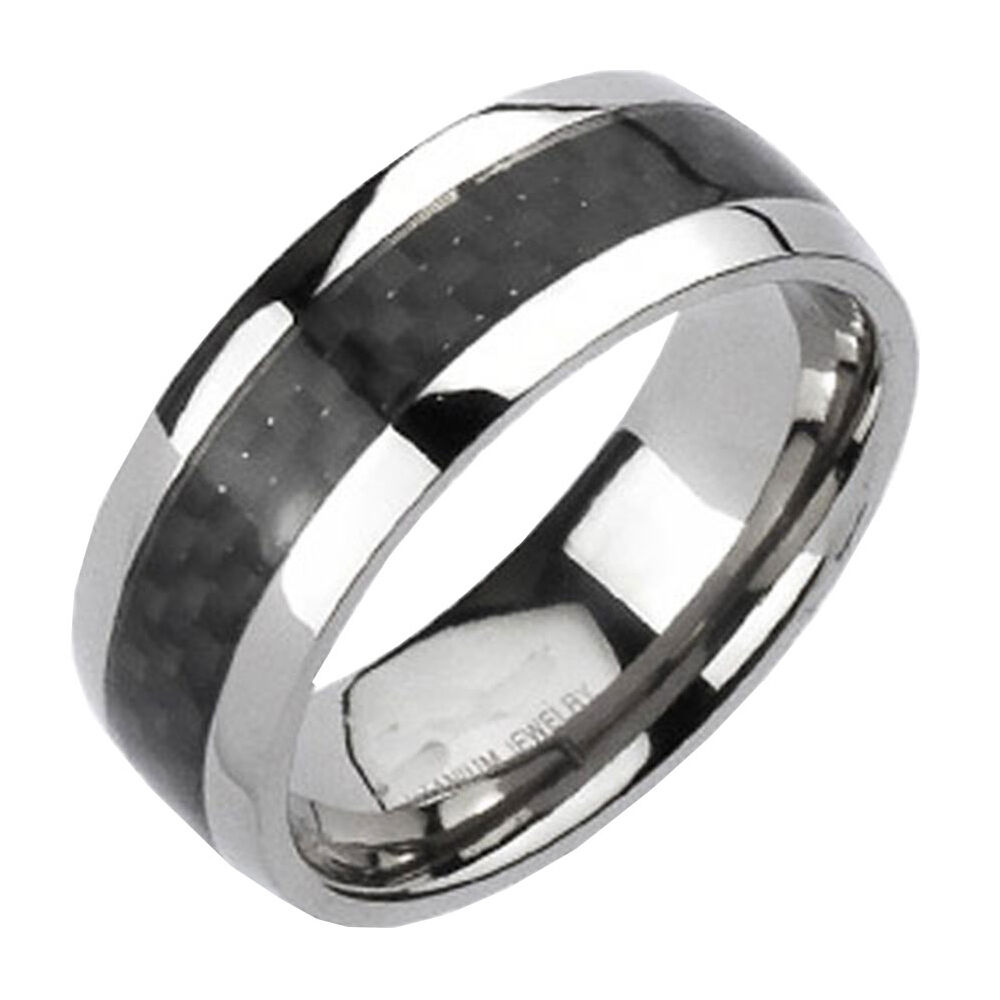 carbon fiber strip comfort fit men 39 s wedding band ring sz 8 14 ebay