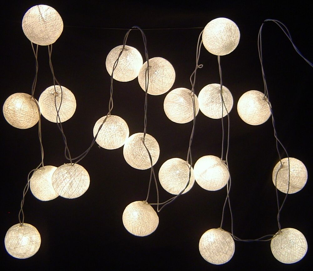 white cotton ball battery led fairy lights 20 light balls. Black Bedroom Furniture Sets. Home Design Ideas