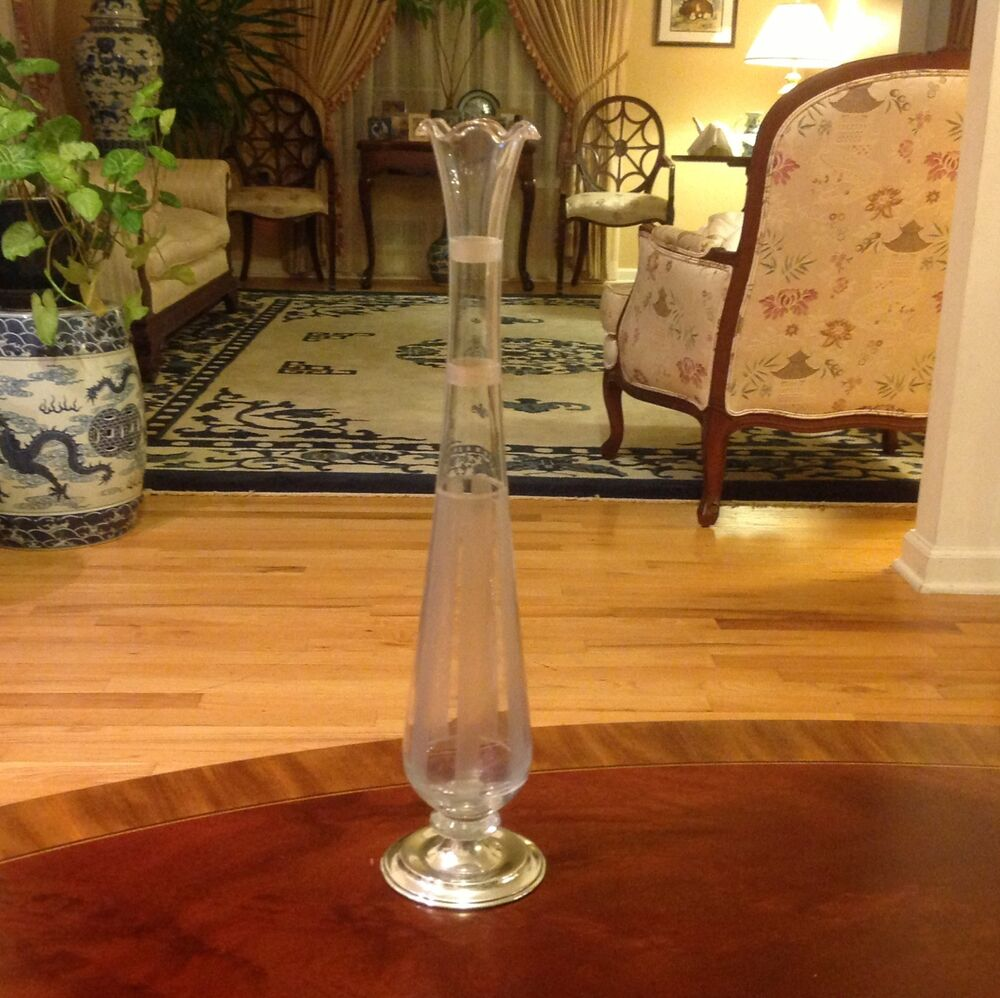 Vintage Hawkes Bud Vase With Sterling Silver Base