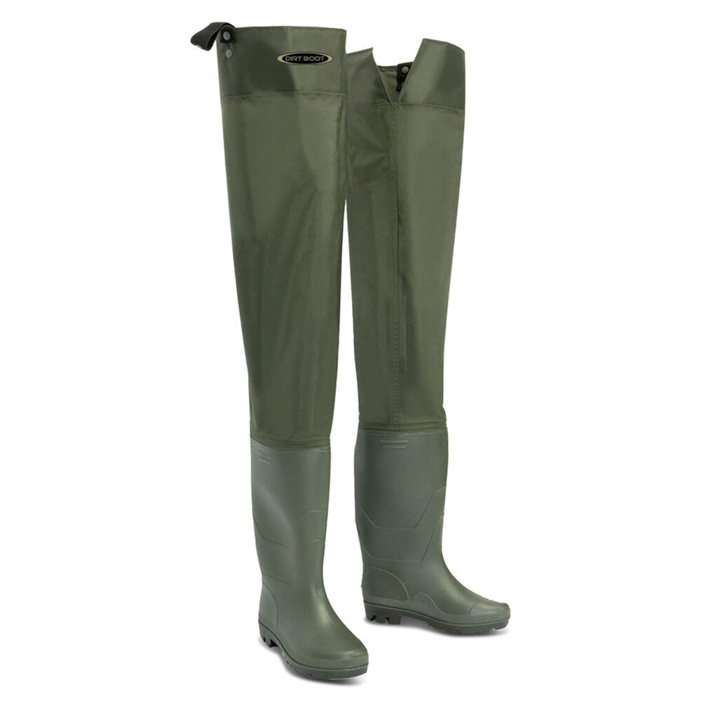 Dirt boot nylon thigh hip waders 100 waterproof fly for Fly fishing waders