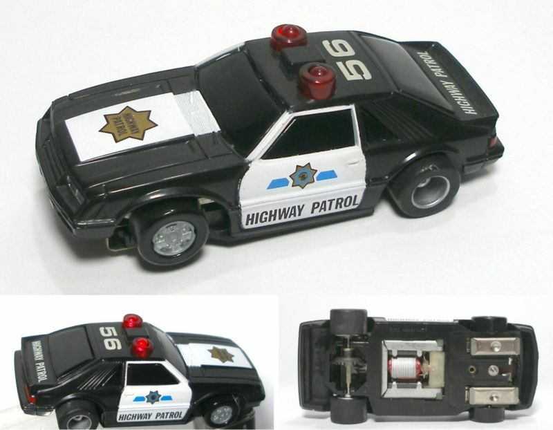 rare tyco ford mustang police slot car lights siren u. Black Bedroom Furniture Sets. Home Design Ideas