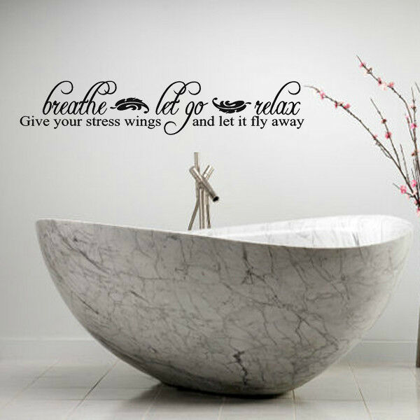 Images Of Bathroom Wall Decor : Breathe let go relax lettering bath words bathroom vinyl