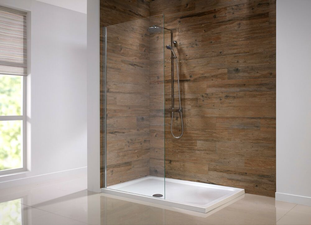 Walk in shower panel 8mm glass screen enclosure wet room Shower glass panel