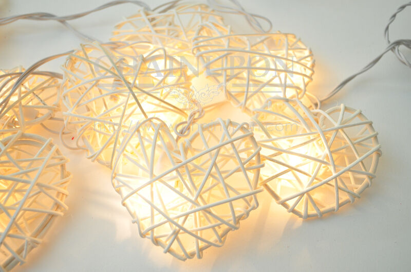 Rattan Hearts String Lights : WHITE LOVE HEART RATTAN STRING FAIRY,DECOR,BEDROOM,LIVING ROOM,WEDDING LIGHTS eBay