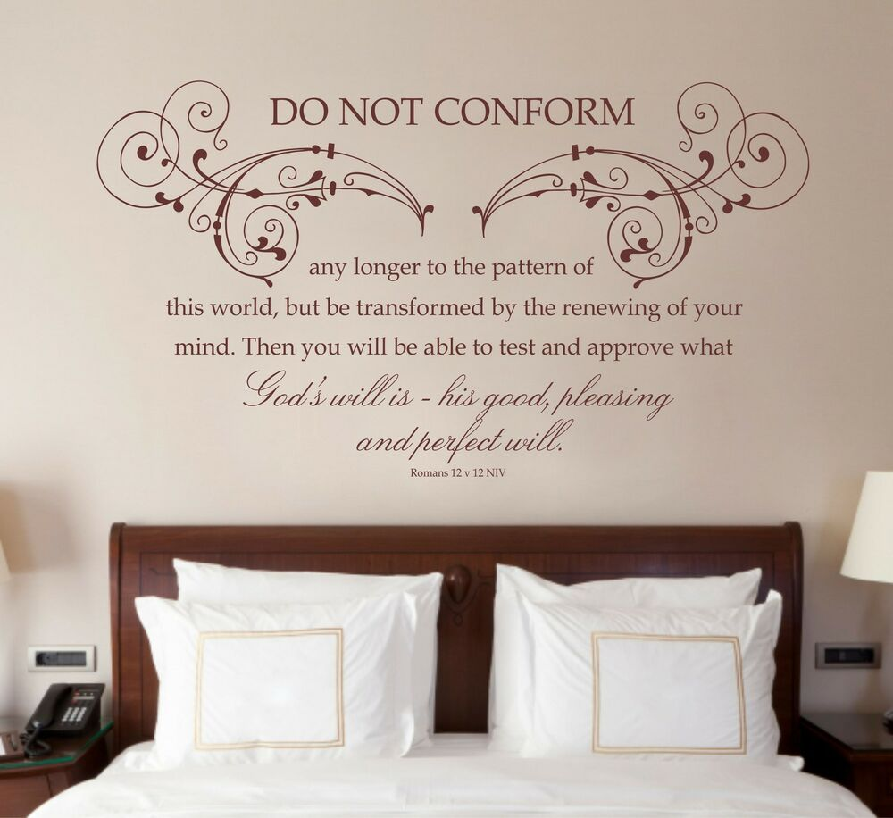 Romans 12 v 2 bible quote christian vinyl wall art for Christian wall mural
