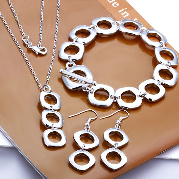 Square Charm Bracelet: 925Sterling Silver Jewelry Square Cushion Necklace