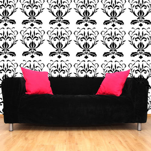Damask stencil wallpaper pattern home wall d cor art craft for Arts and crafts stencils craftsman