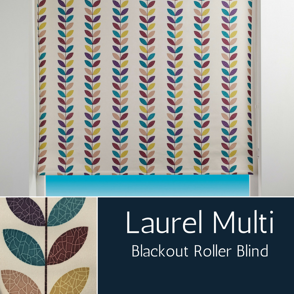Patterned Blackout Roller Blind Multi Coloured Leaf Design