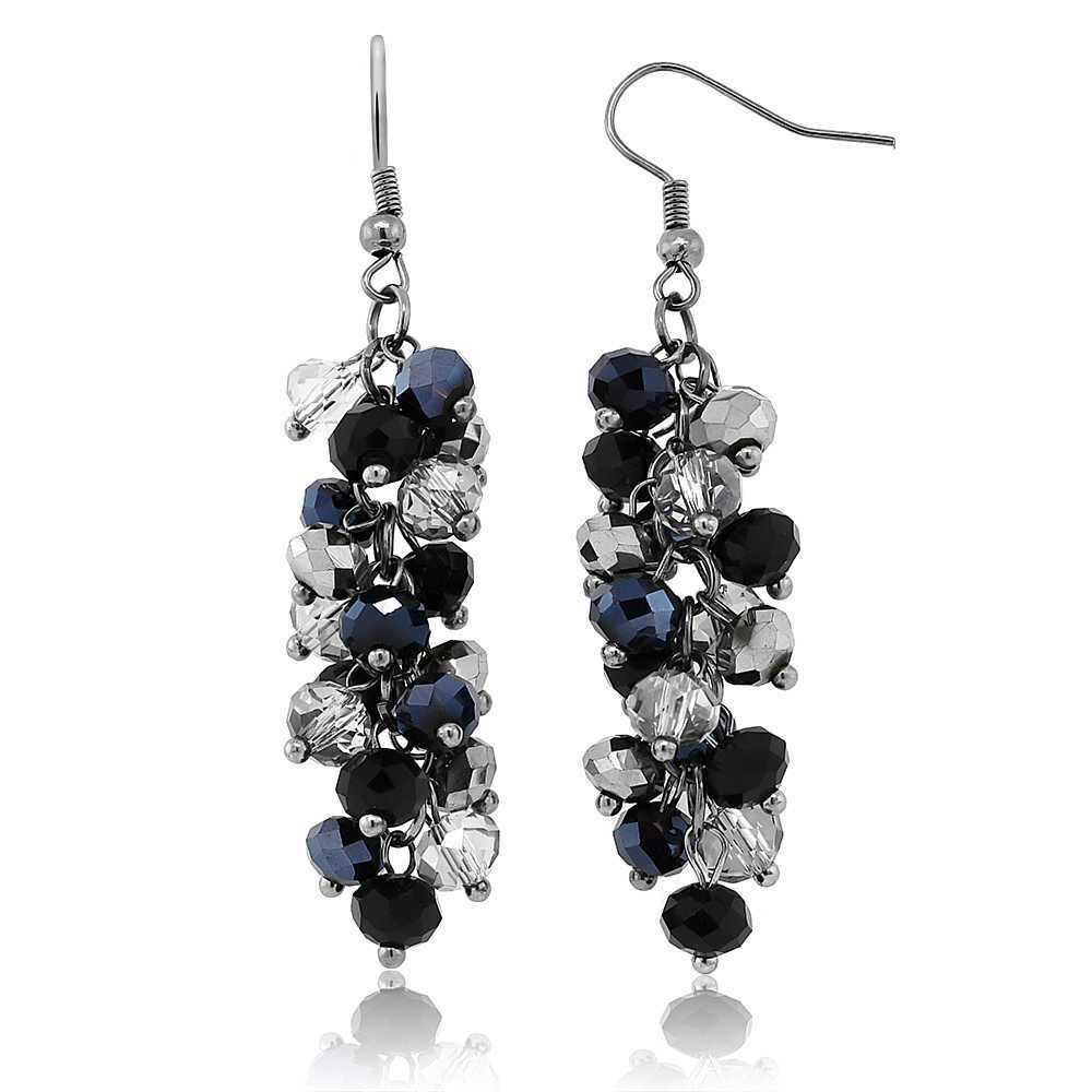 2 quot black and silver cluster faceted dangle hook