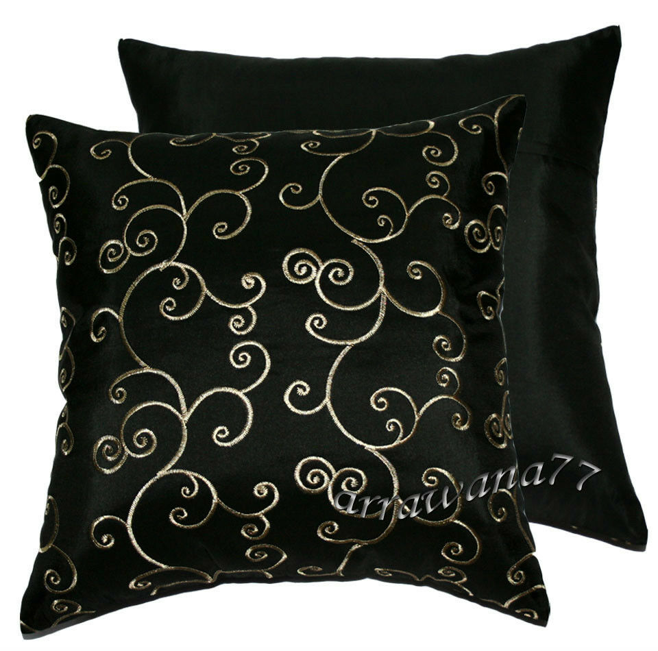 Black Throw Pillows For Bed : 2 Thai Silk Decorative Pillow Cushion Cover Throw FS Black eBay