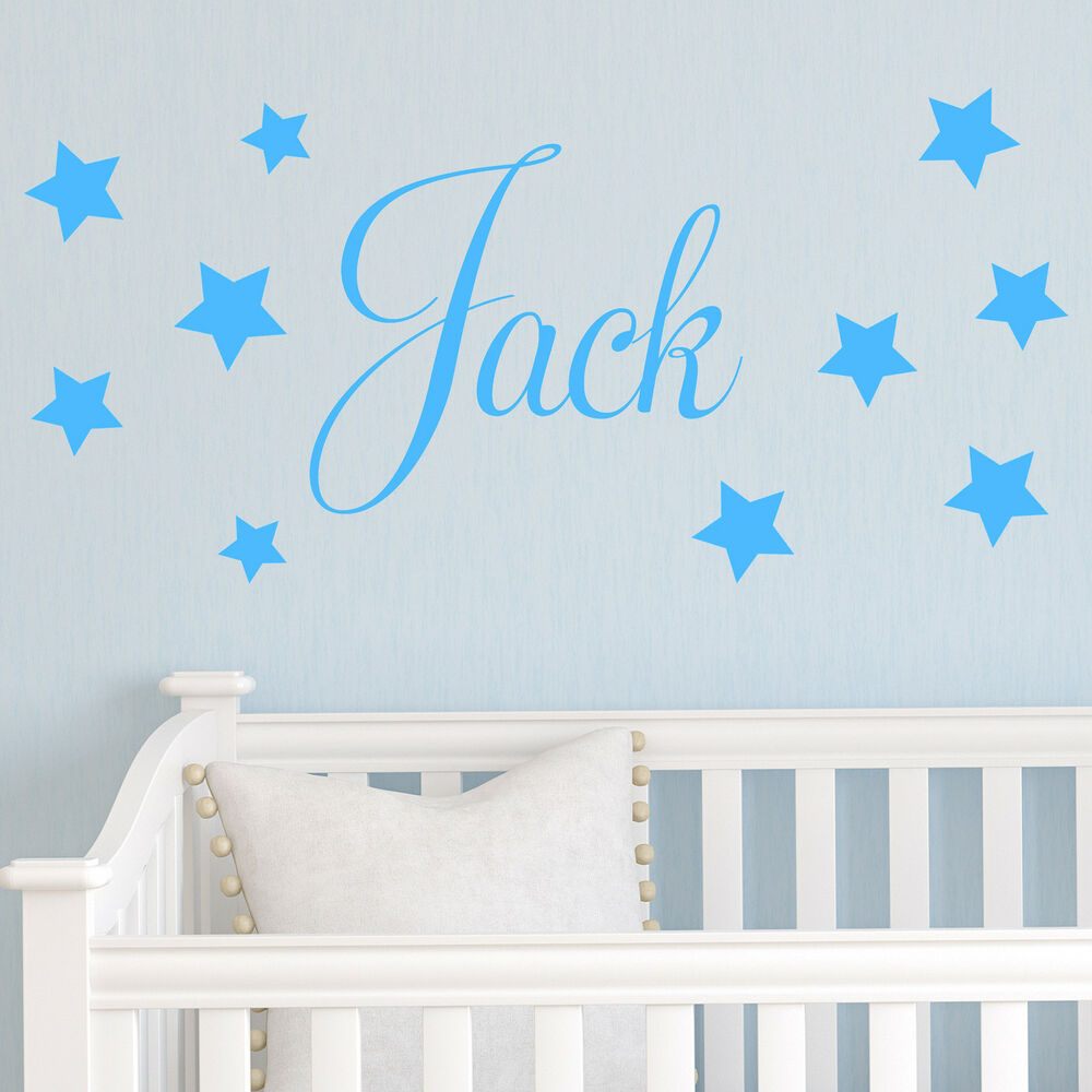 Baby boys wall sticker personalised stars child name Boys wall decor