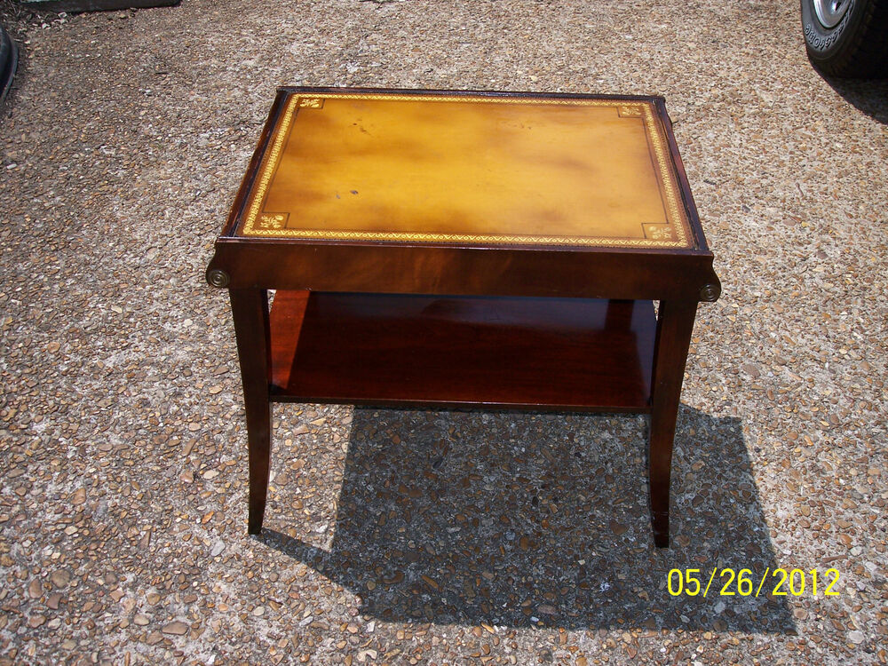 ANTIQUE STICKLEY OF GRAND RAPIDS END TABLE mahagony W/ LEATHER TOP EMPIRE  STYL - Grand Rapids Furniture EBay