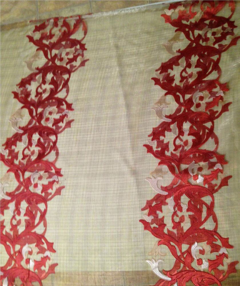 Red Brick Florence Embroidered Sheer Organza Fabric By The Yard Ebay