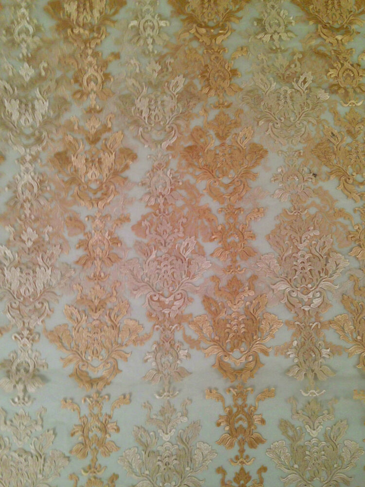 Ivory caprise full embroidered sheer organza fabric by the for Sheer fabric