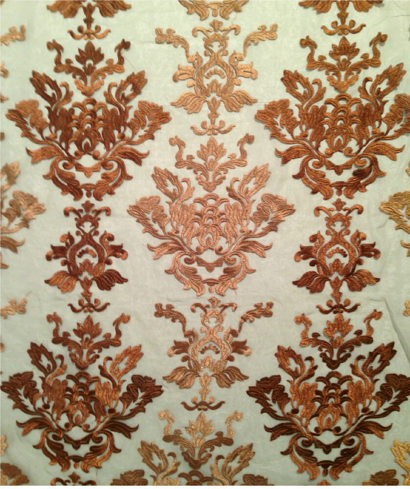 Bronze gold caprise embroidered sheer organza fabric by for Sheer fabric