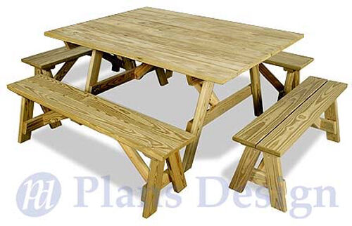 Classic square picnic table woodworking plans pattern for Table design patterns