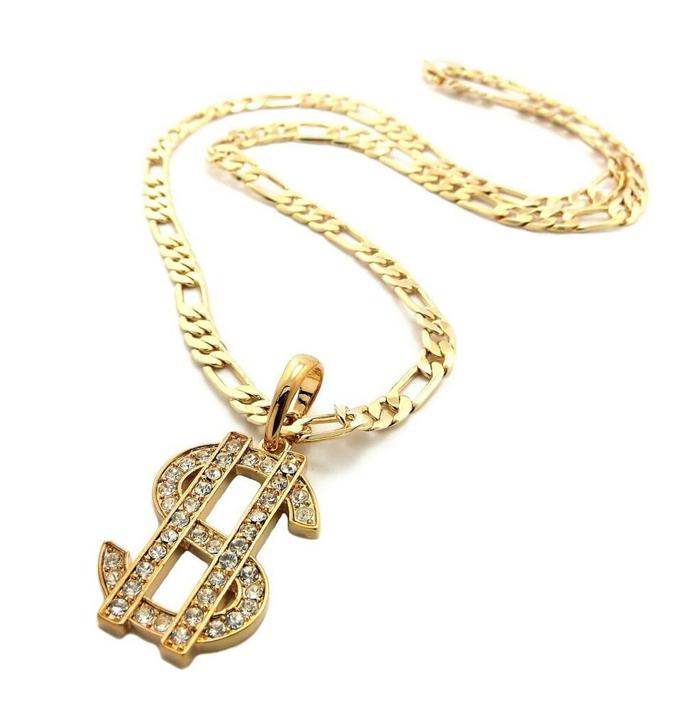 NYFASHION101 Iced Out Cross Pendant with 5mm 24 Figaro Chain Necklace