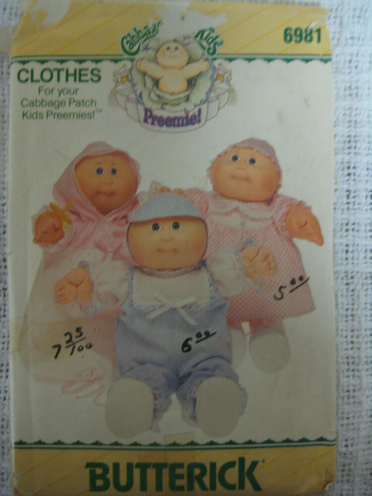 vintage butterick 6981 cabbage patch preemies doll