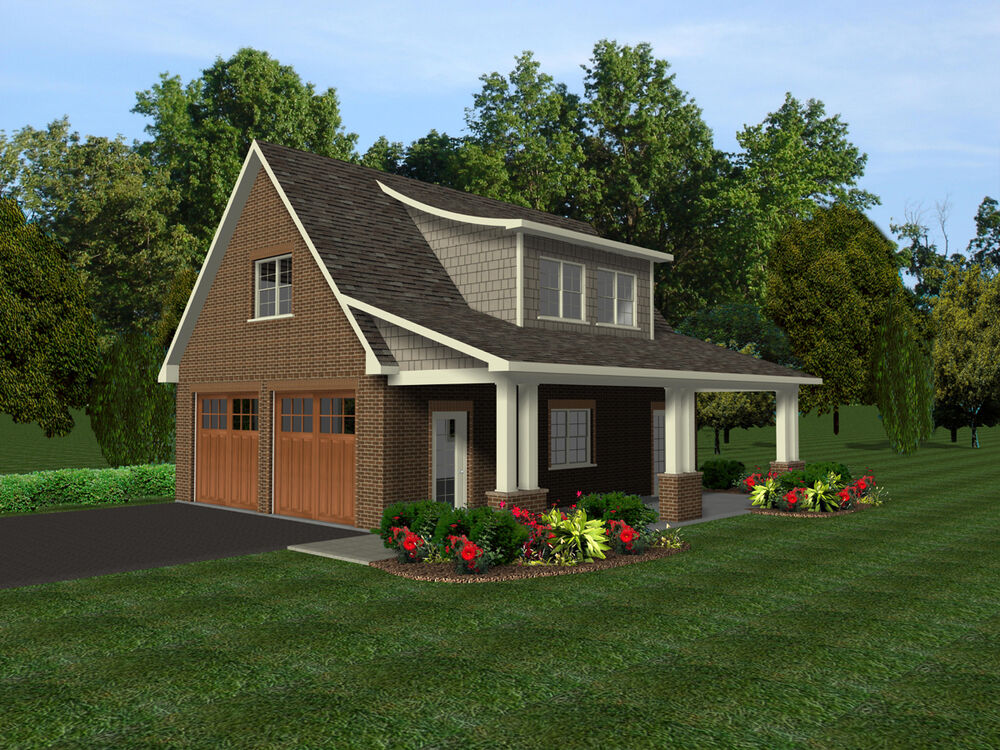 2 car garage plans w office loft covered porch ebay for Detached covered patio plans