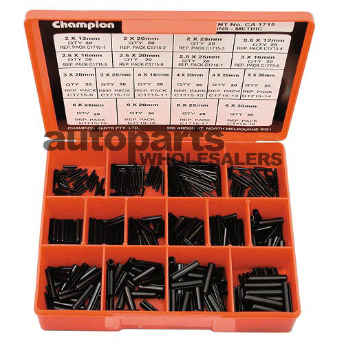 Champion Metric Roll Pins Small Sizes Assortment Kit 360 Pieces 9313693117155 Ebay