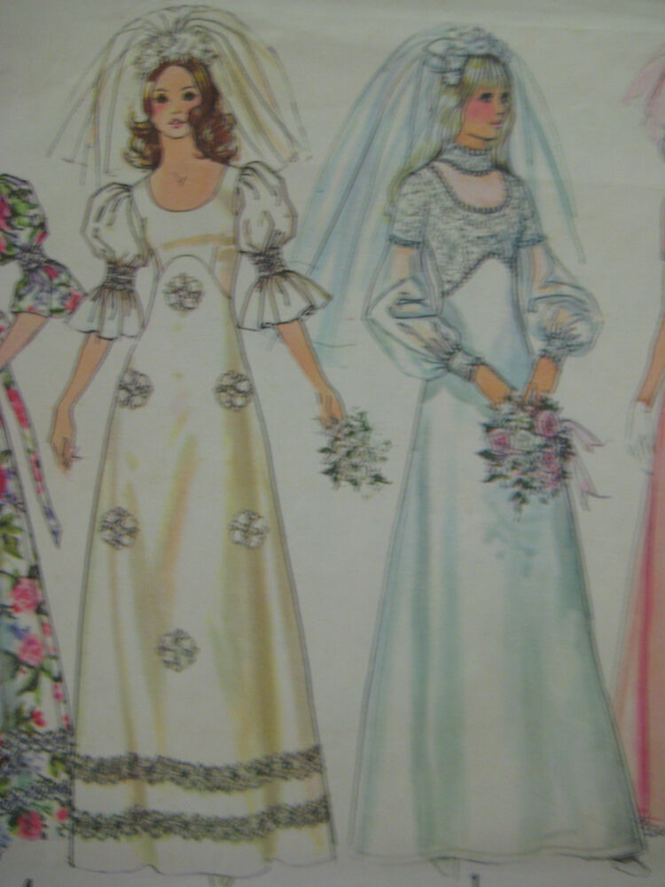 Vintage simplicity 5462 wedding dress low round neck for High low wedding dress patterns