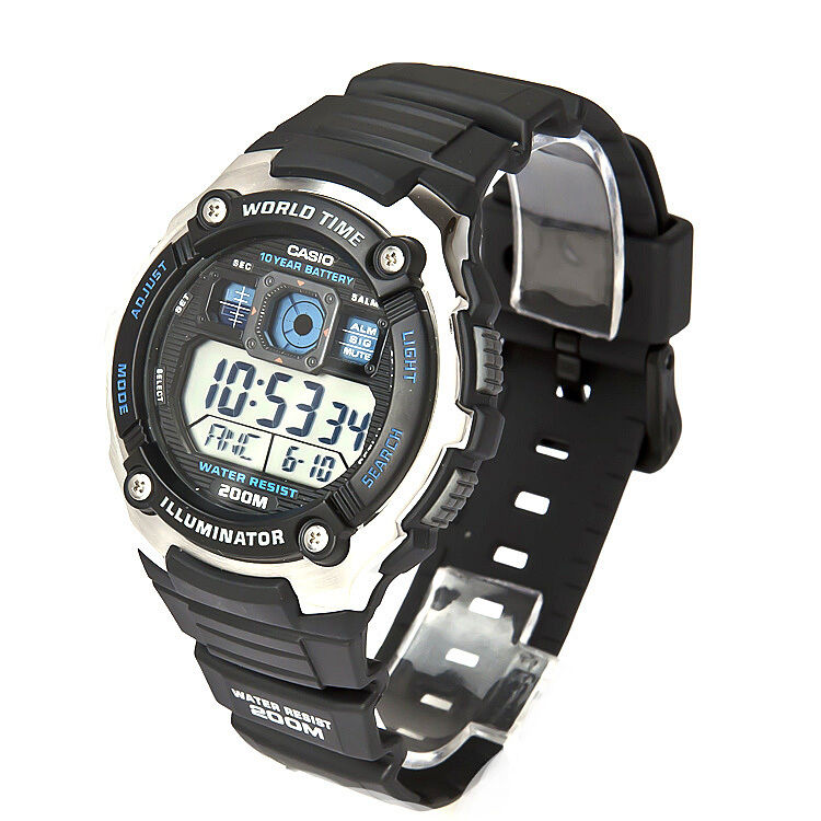 Casio World Time Rubber Digital 200M Sports Alarm Mens