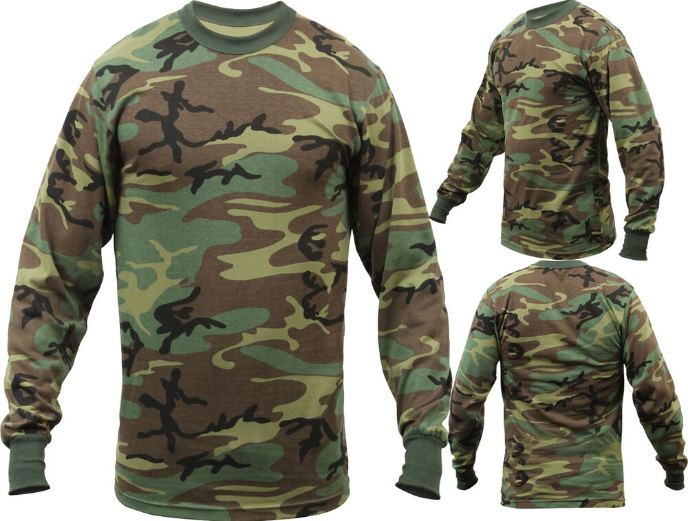 Mens woodland camouflage long sleeve tactical military t for Camouflage t shirt printing