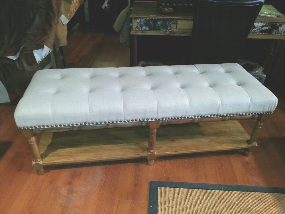 60 Quot Long Linen Distressed Bench Tufted Pottery Linen