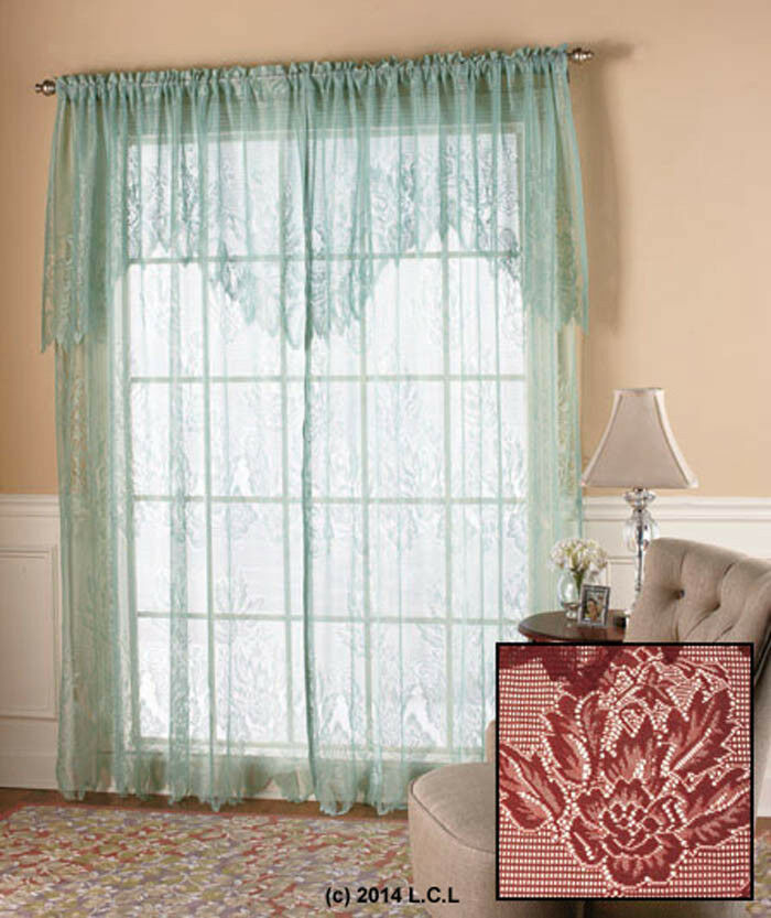 Lace Curtain Panels With Attached Valance Heritage Lace Blossom Vala