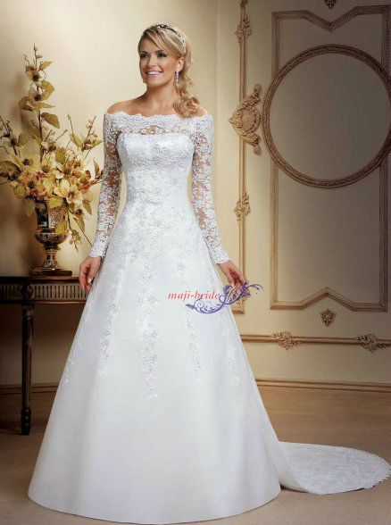 boat neck long sleeve a line ivory white lace wedding dresses detachable train ebay. Black Bedroom Furniture Sets. Home Design Ideas
