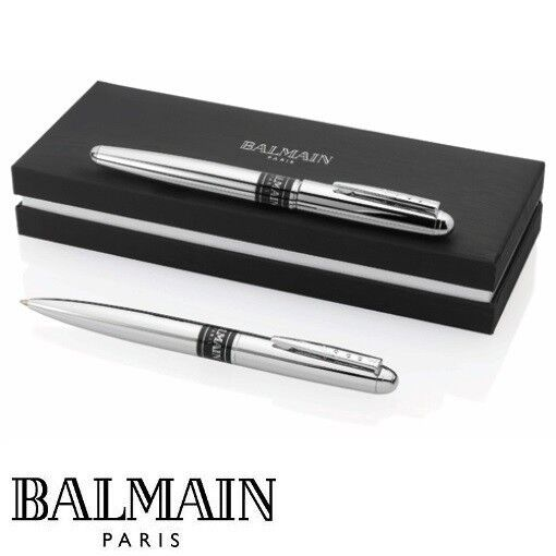 schreibset original balmain paris rollerball kugelschreiber drehmechanik chrom ebay. Black Bedroom Furniture Sets. Home Design Ideas