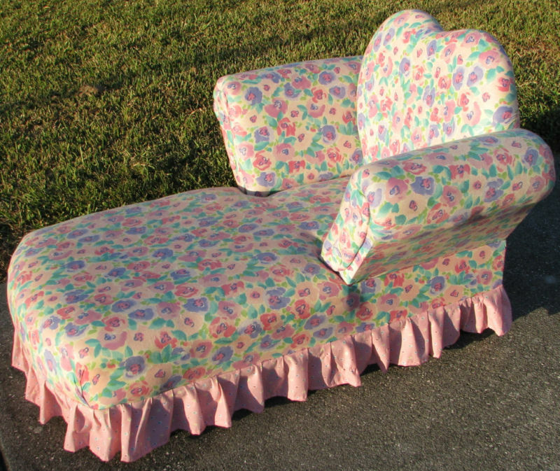 Kids Size Chaise Lounge Chair Pink Floral 2 Patterns Euc