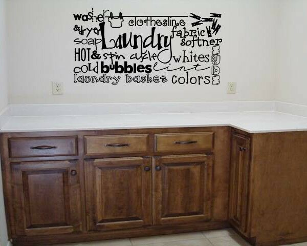 Laundry Collage Room Lettering Vinyl Words Decal Wall Art